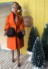 Late for work! (Foxy Belle) Tags: doll barbie swirl ponytail vintage audrey hepburn orange coat dress blonde dream house new 1960s cardboard structure stockings panythose