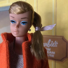 Monday blues (Foxy Belle) Tags: doll barbie swirl ponytail vintage audrey hepburn orange coat dress blonde dream house new 1960s cardboard structure