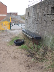 Feeling Tyred? (Glass Horse 2017) Tags: coast cleveland boxingday southgare bench benchmonday rubber tyre barrier yellowfence concrete sand barbedwire teesside