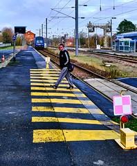 En lignes en gare de Cambrai (PATRICK skorzec) Tags: cambrai couleur lignes hautsdefrance gare personne fujixt3 train