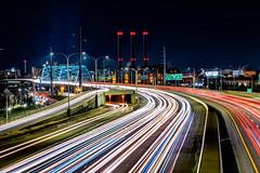 Busy I-195 (Frank C. Grace (Trig Photography)) Tags: providence rhodeisland unitedstatesofamerica ri oceanstate newengland traffic lighttrails trafficlighttrails longexposure nikon d850 i195 iway bridge powerplant