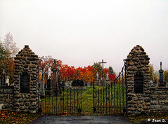 Misty morning (Jean S..) Tags: fog misty fence stone cemetery graves graveyard grass autumn fall colorful colors