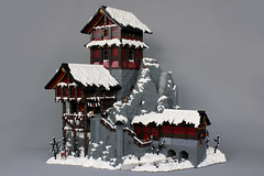 Sabishi Monastery (-LittleJohn) Tags: lego moc creation custom model asian medieval winter snow monastery house fortress roof tree stream river waterfall rockwork landscape wood stone design castle brickbuilt isaac john snyder staircase stairs wooden