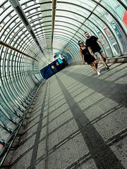Loved Up (Sean Batten) Tags: london england unitedkingdom poplar eastlondon poplarbridge dlr docklands streetphotography street people bridge tunnel city urban fujifilm x100f