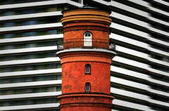Travemuende Lighthouse (HWHawerkamp) Tags: germany travemuende building architecture lighthouse colours travel graphics abstract