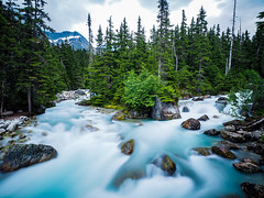 Meeting Of The Waters (B-Lichter) Tags: olympus pen epl7 mzuiko 918mm longtermexposure nd britishcolumbia canada water river landscape cloudy blue trees forest travel camping hiking
