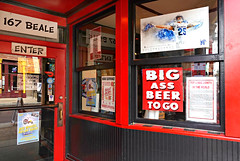 Beer to Go (Colorado Sands) Tags: beer beerhere beertogo bigassbeer memphis tennessee usa sandraleidholdt 167bealestreet takeout bealestreet pigonbeale beerjoint restaurant bbqjoint sign advertising advertisement