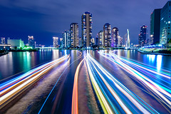 Rivers of Light (rohangillett) Tags: eitaibridge japan sumiderriver tokyo tokyoinpics tsukishima architecture famousplacesintokyo lighttrailsintokyo longexposurephotographspotintokyo nightphotooffamousplacesintokyo towerapartmentsintokyo タワーマンション 光跡 日本 月島 東京 江東区 隅田川