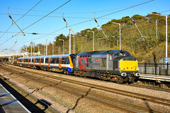 37608 + 710271 + 57305 - Sandy - 30/12/19. (TRphotography04) Tags: rail operations group rog 37608 andromeda drags london overground 710271 exnorthern belle liveried 57305 past sandy 5q72 0924 old dalby willesden tmd