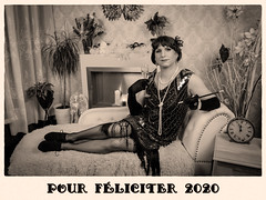 Happy New Year (blackietv) Tags: 20s flapper dress gown black gold pearls tgirl crossdresser crossdressing transgender