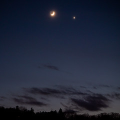 The Moon Rendezvoused with Venus in a Veil I (Kei Edamatsu) Tags: moon nature space sky venus crescentmoon cloud