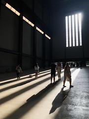 Stripes (marktmcn) Tags: shadows light vertical stripes striped diagonal perspective window sunlight sinlit skirt striding towards tate modern turbine hall london