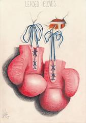 Leaded gloves... (Klaas van den Burg) Tags: boxing gloves red blue orange pencils humor absurd