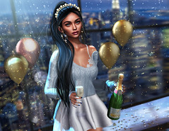 2020 (UGLLYDUCKLING Resident) Tags: secondlife sl avatar avi girl brunette virtual world scenery light night city window party newyear ny champagne balloons confetti smile happy blogger ugllyduckling maitreya genus besom euphoric osmia scandalize junkfood