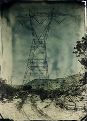 Tower In Snow (Silver and Iron Tintype) Tags: senecaimprovedview 5x7 largeformat wetplatecollodion newguycollodion newguynegativecollodion epsonv700 coppersulfatedeveloper collodion tintype alumitype moderncollodion silverandlight snow palmdale california