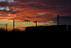 Timing Is Everything (whosoever2) Tags: uk united kingdom gb great britain england nikon d7100 train railway railroad december 2019 sunset red sky cloud freightliner class70 70001 4o29 traffordpark southampton intermodal freight sandbach cheshire winter ly