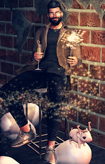 [ 📷 - 260 ] (insociable.sl) Tags: boy man male glass beard model champagne hipster newyear sneakers sl secondlife edit 2020 party pet cute animal pig crystal balloon nero magnificient n7 nativeurban sparkler