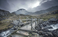 Bridge to Devils (Captain Nikon) Tags: snowdonia northwales cwmidwal devilskitchen ogwenvalley lake moody waterfall lowclouds uk visitwales