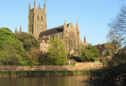 View of Worcester Cathedral From Across Severn River, Worcester, England