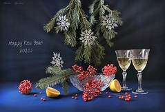 Happy New Yaer 2020...! (Esther Spektor - Thanks for 16+millions views..) Tags: newyear 2020 greeting stilllife naturemorte bodegon naturezamorta stilleben naturamorta composition art creativephotography coniferous branch plant berry snowflake decoration ornament vessel goblet champagne citrus lemon slice crystal shine radiance white green silver red yellow blue black estherspektor canon amazinggraciousness