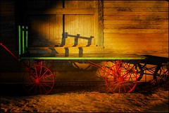 Something Old for the New Year (Dave Linscheid) Tags: railroad wagon trailer winter snow light heritagevillage depot train mtlake cottonwoodcounty minnesota smartphotoeditor shadow freightwagon