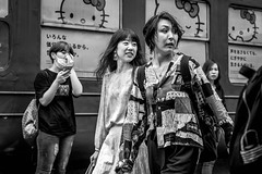 Tokyo 2019 (burnt dirt) Tags: shibuya tokyo japan asia japanese asian candid documentary street photography downtown metro urban city scramble crossing outdoor people person fujifilm xt3 fujinon 50mm f2 bw blackandwhite monotone monochrome woman girl smile laugh train station style fashion life real crowd tourist emotion expression portrait close nippon couple girlfriends