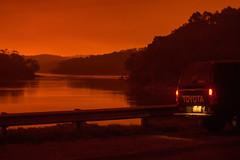 Scary stuff West (OzzRod) Tags: pentax k3 smcpentaxda50135mmf28 bushfire apocalypse sky orange smoke eerie lake vehicle cuttagee nswfarsouthcoast