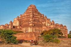 Bagan temples (ValterB) Tags: valterb view temple building bagan myanmar burma religion sky horse people pyramid hot holiday travel tree trip sunset sunlight blue orange