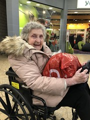 Never too old for Christmas shopping . . . (Explored!) (newenglandgal) Tags: 119in2019 shopping wheelchair mall nana 90 christmas