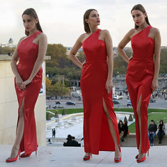 Beautiful fashion girl posing with a red evening dress (pivapao's citylife flavors) Tags: paris france trocadero girl beauties fashion stitched
