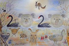 2020 AUSSIE STYLE.....HAPPY NEW YEAR FRIENDS! (Lani Elliott) Tags: art painting mixedmedia humour watercolour aussiehumour lanielliott flowers birds animals australianfauna australianflora echidna brushtailpossum tasmaniandevil sulphurcrestedcockatoo kangaroo emu koala blackswan