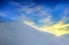 ... quando è inverno ... (Gio_guarda_le_stelle) Tags: dolomiti dolomites dolomiten sunset sunbeam mountainscape snow togheter insieme luce sun moon light giau