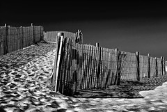 Dune fence, B&W (Bill Jonscher) Tags: beach seashore coast dune sand fence footprints cleanfresh unspoiled quiet calm peaceful relaxation rejuvenation contemplation travel vacation nature bw