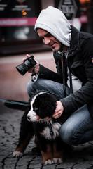 Seb Szczepanowski and the little bear :) (krawatj) Tags: snapshot bear photographer dog streetphotography streetphoto