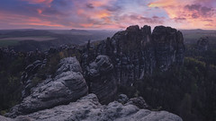Schrammsteine (Andrew G Robertson) Tags: elbe standstone mountains germany schrammsteine panorama bad schandau east deutschland saxon saxony switzerland national park sunset sunrise