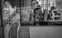 What?? (Peter M. Meijer) Tags: ricohgriii rotterdam holland street strada strasse straat callejera people bw bn monochrome 201912 wideangle candid closeup tram ret