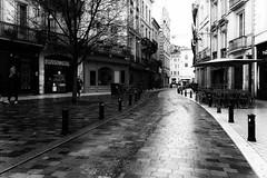 (Florence Bonnin) Tags: bordeaux noiretblanc street wet fuji blackandwhite perspectiverue lumière dark bw light