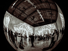 Living in a Bubble (MomoFotografi) Tags: imagine vangogh exposition impressionism painting blackandwhite fisheye meike 180 degrees cathedral art modernart postmodernism arsenal contemporary contemporain