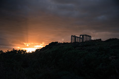 Cape Sounion the Temple - Happy New Year (athanecon) Tags: sounion sounio sea sunset fireinthesky temple poseidon sun clouds sky ancient ancientgreece mythology sacred aegean attica greece sunrays raysoflight ocaso coucherdesoleil tramonto colores cielo ciel nubes sol rayos rayosdelsol capesounio capesounion cabosounion happynewyear newyear 2020 happy2020