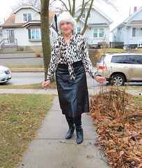 Hi, I'm Your Next-Door Neighbor (Laurette Victoria) Tags: sidewalk boots skirt leather silver laurette woman animalprint