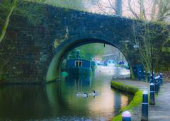 Happy last day 2019! (dominiquita52) Tags: england yorkshire hebdenbridge canal barge péniche bridge pont