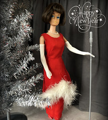 Happy New Year! (Foxy Belle) Tags: barbie american girl performer singer stage christmas red brunette gloves curtain diorama doll 16 scale evening enchantment 1695 1967 white fur marabou
