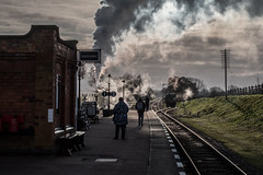 Steam in the sun (Peter Leigh50) Tags: quorn great gcr central railway railroad rail train trees track station signal semaphore steam standard std class 5 5mt five 73156 sunshine platform people