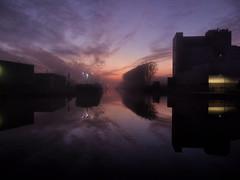 Harbour at sunset (andzwe) Tags: haven meppel harbor harbour netherlands nederland drenthe sunset zonsondergang silhouettes harboratsunset harbouratsunset havenzonsondergang mist fog mistig roeken roekenpad loods pakhuis 2019