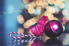 ring in the new year (rockinmonique) Tags: ornament bell macro bokeh red pink blue gold happynewyear moniquewphotography canon canont6s tamron tamron45mm copyright2019moniquewphotography
