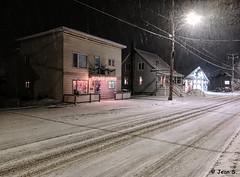 ... (Jean S..) Tags: snow winter rural house street night streetlight cold lights