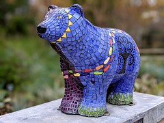 """""""Hope"""", a symbol of our city's support of cancer cure research. (Bennilover) Tags: bear cancer relay race fight cure research tiles sculpture missionviejo community tilebear hope thismaynotbeoldsanjuanbut"""