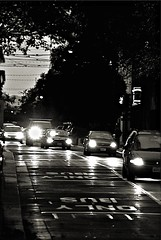 Bus Only Lane (Bob_Wall) Tags: bobwall btwgf blackandwhite monochrome traffic city urban cars downtown sanjose evening