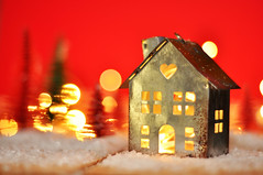 Snow house in magical forest with red background (Martyn.Hayes) Tags: christmas festive noel seasonal stilllife winter december advent decoration christmasdecoration house home cosy metal bokeh snow red
