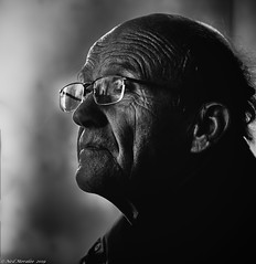 Look to the future (Neil. Moralee) Tags: londonenglandneilmoralee neilmoralee man old mature wrinkles glasses bald balding profile portrait alone lokingleft black white mono monochrome blackandwhite blackwhite neil moralee bw candid olympus omd em5 happy new year spectacles face london england senior penssioner